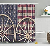 Ambesonne Western Decor Shower Curtain Set, Big Antique Cart Carriage Wheels with American Flag in Retro Vintage Colors New World Print, Bathroom Accessories, 75 inches Long, Multi