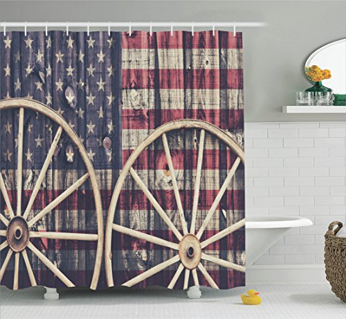 western-decor-shower-curtain-set-by-ambesonne-big-antique-cart-carriage-wheels-with-american-flag-in