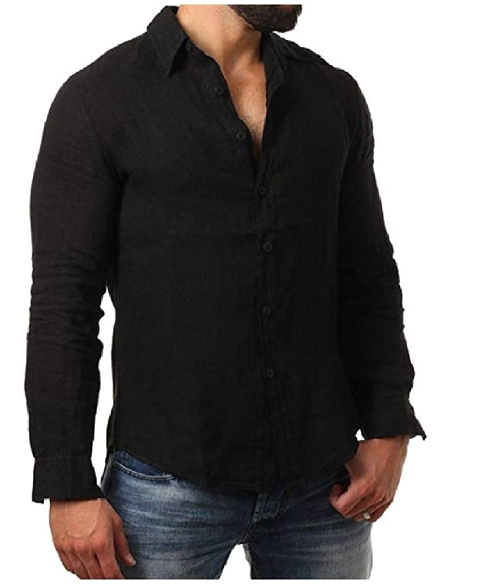 Abetteric Mens Plus Size Linen Cozy Turn Down Collar Leisure Work Shirt