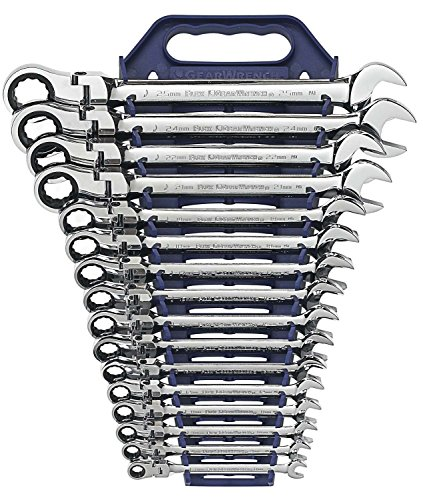 GearWrench 9902D 16 Piece Flex-Head Combination Ratcheting Wrench Set (Metric Flex Head Combination)