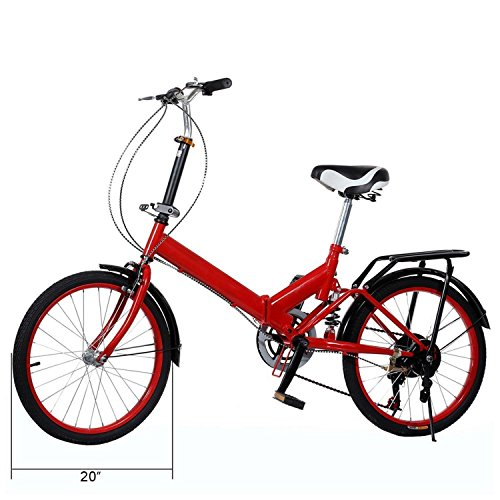 20'' Portable Folding Bike,6 Shift Speed Bicycle Cycling Adult Ladies Bicycles