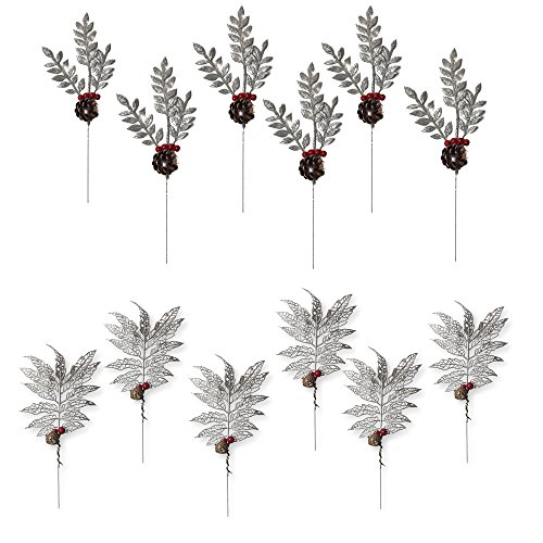 BANBERRY DESIGNS Christmas Picks - Set of 12 Silver Leaf Pics with Red Holly Berries and Pine Cones - Artificial Holiday Picks