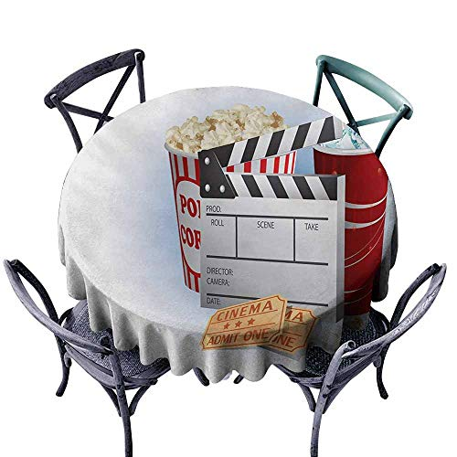 VIVIDX Spillproof Tablecloth,Movie Theater,Soda Tickets Fresh Popcorn and Clapper Board Blockbuster Premiere Cinema,High-end Durable Creative Home,70 ()