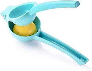 Lime squeezer manual lime press metal lemon juicer heavy duty hand fruit extractor (Single-Blue)