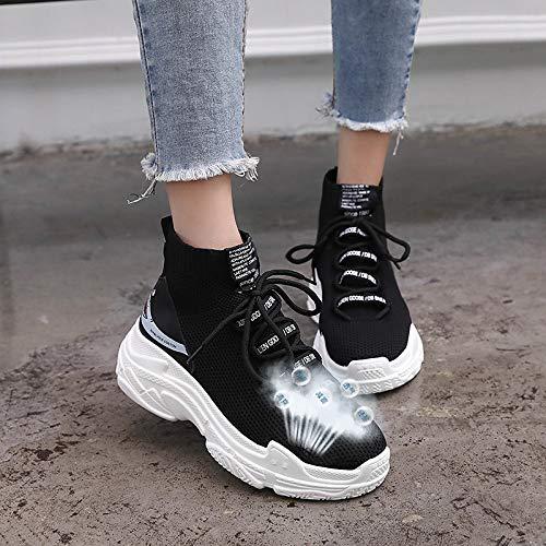 Scarpe da Sneakers Canvas ZHZNVX Mesh Black Autunno tonda Punta Comfort camminata Bianco Traspirante Creepers donna Nero da Scarpe qwvn8qzf