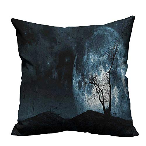 YouXianHome Decorative Couch Pillow Cases Moon Sky with Tree Silhouette Gothic Halloween Colors Scary Artsy Background Slate Blue Easy to Wash(Double-Sided Printing) 16x16 inch]()