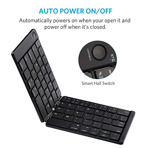 Bluetooth Keyboard, Moreslan Foldable Wireless Keyboard for Android Windows IOS Laptop Tablet Smartphone and More, Ultra-Slim Portable Pocket Sized Keyboard with Built-in Rechargeable Battery by Moreslan (Image #1)