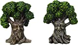 Fairy Garden Trees with Face 4 Inch Resin Miniature Decorative Set of 2