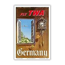 Pacifica Island Art Germany - Fly TWA (Trans World Airlines) - German Black Forest Cuckoo Clock - Vintage Airline Travel Poster by William Ward Beecher c.1952 - Master Art Print - 12in x 18in