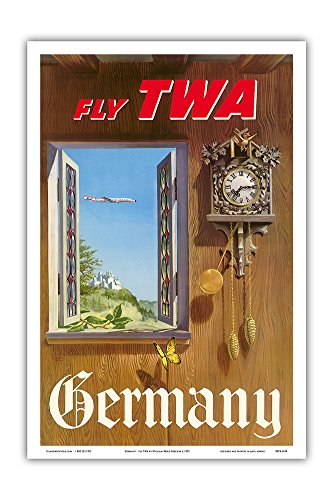 Germany - Fly TWA (Trans World Airlines) - German Black Forest Cuckoo Clock - Vintage Airline Travel Poster by William Ward Beecher c.1952 - Master Art Print - 12in x (Reproduction Cuckoo Clock)