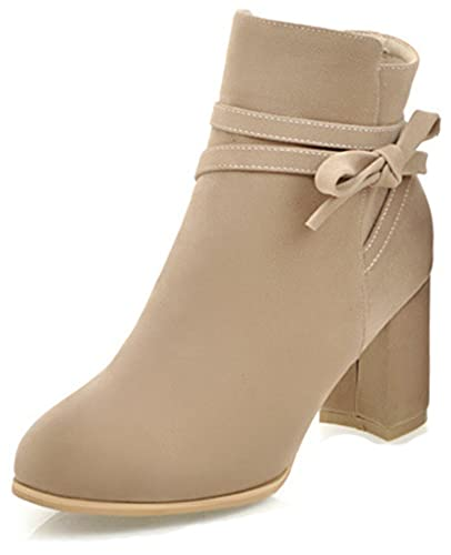 Women's Bowknot Pointed Toe Dressy Inside Zip Up Ankle Boots Mid Chunky Heel Booties With Zipper