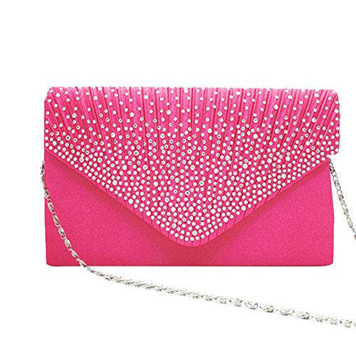 Evening Red for Handbag Clutch Satin Pleated Rose Rhinestone Bag Envelope Women's Wedding Prom with Party 8fpvx1w