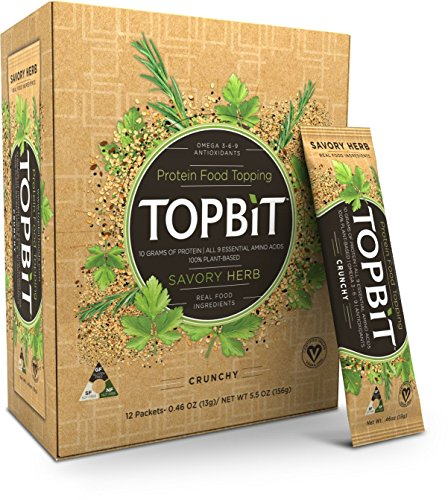 TOPBiT-Protein Food Topping Savory Herb-12 Packets-Plant-Based Vegan Protein Topping-Sugar Free, Dairy Free, Gluten Free