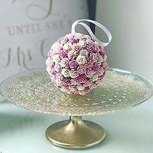 Savvi Jewels Pink Blush Paper Flower Kissing Ball For Flower Girl Floral Balls Rose Kissing Ball Rose Artificial Flowers 108