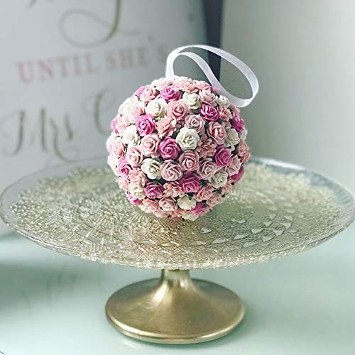 Savvi Jewels Pink Blush Paper Flower Kissing Ball For Flower Girl Floral Balls Rose Kissing Ball Rose Artificial Flowers ()