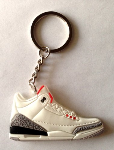 25432b36c5f Air Jordan 3 III Cement 88 OG White Sneakers Shoes 2D Keychain Keyring