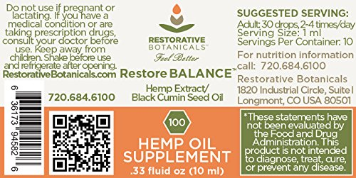 Restore-BALANCE-Hemp-Oil-Extract-100-mg-033-ounce-10ml-Black-Cumin-Seed-Oil-Infusion-by-Restorative-Botanicals