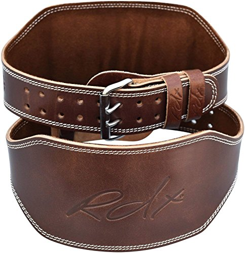RDX Weight Lifting Belt 6'' Cow Hide Leather Double Prong Back Support Gym Exercise Bodybuilding Training Workout by RDX (Image #9)