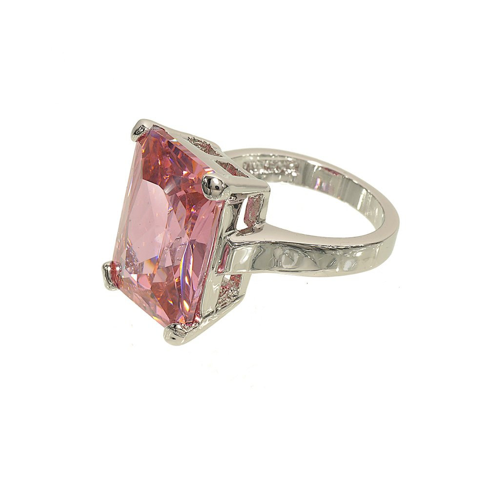 Glamour Rings Very Large Pink Cubic Zirconia Single Stone Cocktail Ring with Silvertone Double Base Setting