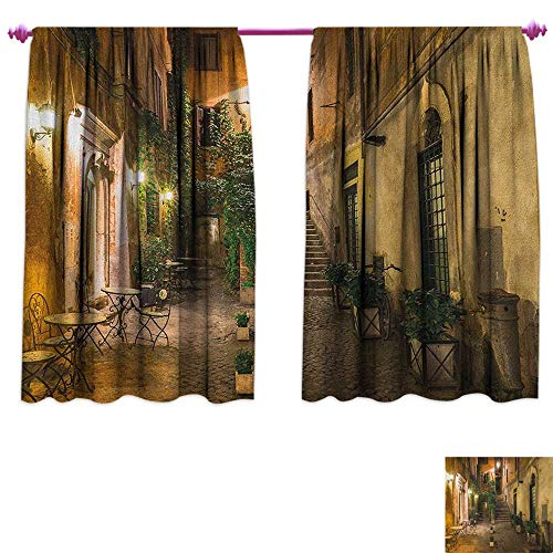 Italian Blackout Window Curtain Old Courtyard Rome Italy Cafe Chairs City Historic Ambience Houses Street Drapes for Living Room W72 x L72 Orange Brown Green