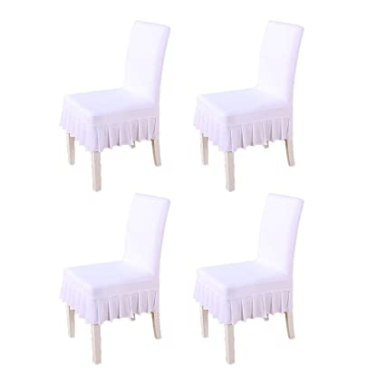 Pleasing 4 Piece Short Removable Stretch Spandex Dining White Chair Cover Protectors Fit For Banquet Coffee Shop Restaurant Hotel Wedding Chair Seat Slipcovers Machost Co Dining Chair Design Ideas Machostcouk