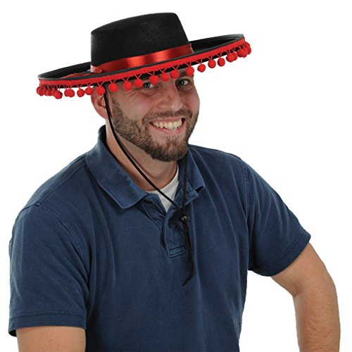Hats The Dead Of Day (Adult size Black Felt Spanish Hat with Red Band and Ball Fringe -)