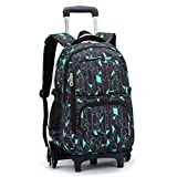 kids trolley school bags - YUB High-Capacity School Bag Backpack for Girl and Boy Students Rolling Trolley Bags Climbing Stairs Six Wheels Black Blue Box