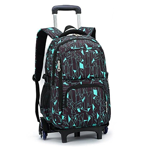 FEC High-Capacity School Bag Backpack for Girl and Boy Students Rolling Trolley Bags Six Wheels Climbing Stairs Blue Box