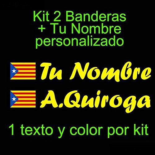 Kit de Dos Vinilos Pala De Padel etc tu Nombre Moto Vinilin Pegatina Vinilo Bandera Catalu/ña Estelada Bici Coche Casco Rojo Monopatin
