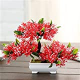 Suyunyuan Flowers 5 Color Artificial Bonsai Tree Welcoming Fake Flower Green Plant Pine Trees Flower Potted Vase Wedding Home Decoration