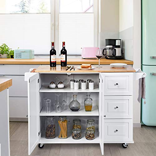 Kitchen island cart with large cabinets