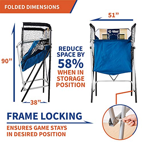 Premium Shootout Basketball Arcade Game, Home Dual Shot with LED Lights and Scorer - 8-Option Interactive Indoor Basketball Hoop Game with Double Hoops, 7 Basketballs, Pump - Foldable Space Saver by Rally and Roar (Image #3)