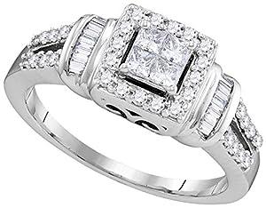10kt White Gold Womens Princess Diamond Halo Bridal Wedding Engagement Ring 1/2 Cttw
