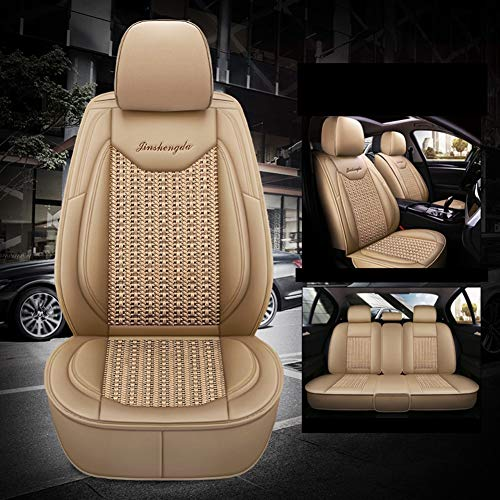 Leather Ice-silk Car Seat Cover- Anti-Slip Suede Backing Universal Fit Car Seat Cushion for Both Fabric and Leather Car Seats,Beige: