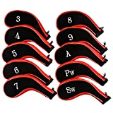 Golf Club Head Covers, Aeola Zipper Headcovers for Golf Clubs Iron Covers with Interchangeable Number Tag - 10Pcs