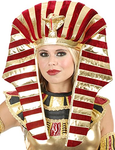 Gold And Burgundy Red Wine King Tut Pharaoh Egyptian Costume Headpiece Set 40 w by Charades