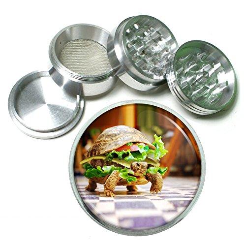 Turtle Burger Em1 Silver Chrome 63mm Aluminum Magnetic Metal Herb Grinder 4 Piece Hand Muller Spices & Herb Heavy Duty 2.5