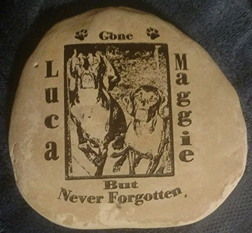 Photo HeadStone W/Name and Date Pet Memorial Dog Memory Crest Rock Custom Order Carved Namesake, Family Name Stone, rocks, garden, etched, Engraved -