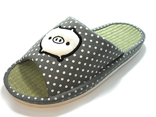 House Slippers Bamboo Print Gray Pig Slippers Width Arch KNP26032ST Wide with xUFOStW