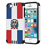 Capsule Case Compatible with iPhone 5, iPhone 5S, iPhone SE [Hybrid Dual Layer Slim Defender Armor Combat Case Black White] - (Dominican Republic Flag)