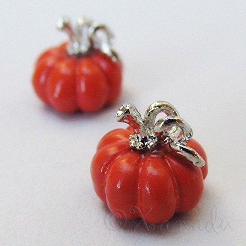 (OutletBestSelling Pendants Beads Bracelet Pumpkin 11mm Wholesale Orange Enamel Silver Plated Charms 2pcs)