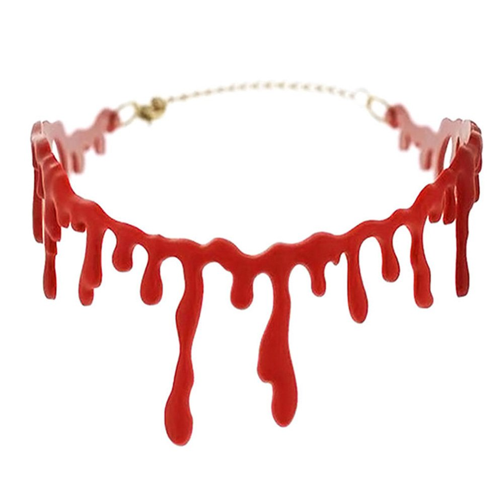 Westeng Blood Necklace Halloween Bloody Scar Horrible Dripping Blood catenina party Cosplay Supplies
