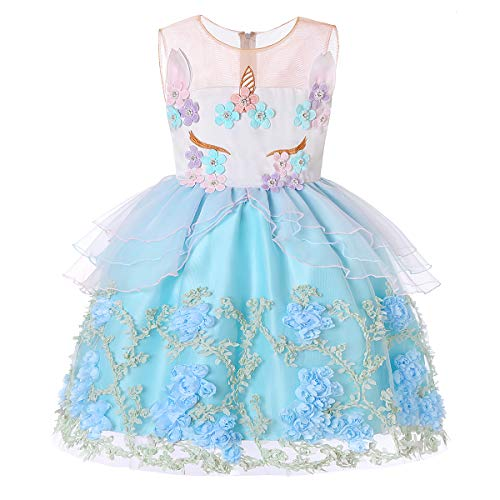 Girls Unicorn Costume Cosplay Dress Party Outfit Fancy Dress Princess Tutu for Birthday Pageant Halloween for Kids Unicorn Dress Girl Flower Party Tutu Dresses Size 8 8-9 (1869 Turquoise,8)