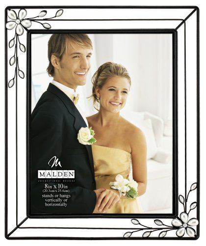 Picture Floral Frame (Malden International Designs Ironworks With Floral Design With Pearls Attached Metal Picture Frame, 8x10, Black)