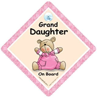 GRANDDAUGHTER ON BOARD CAR WINDOW SIGN NON PERSONALISED PINK SAFETY GIRL