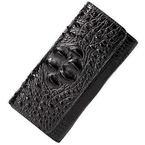 PIJUSHI Women Leather Wallet Embossed Crocodile Clutch Wallet Card Holder Organizer 8013(One Size, Black)