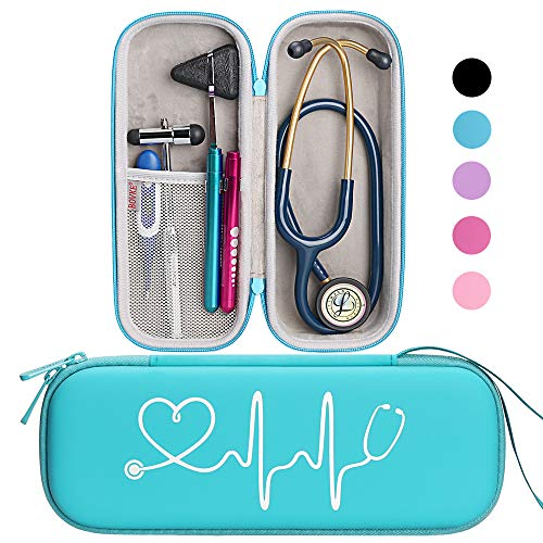 BOVKE Travel Carrying Case for Classic III Stethoscope - Extra Room for Taylor Percussion Reflex Hammer and Reusable LED Penlight, Turquoise