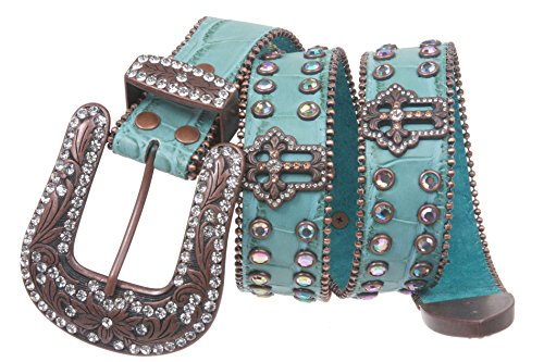 Western Snap on Cowgirl Alligator Rhinestone Cross Concho Leather Belt Size: M/L - 38 Color: Turquoise - Cowgirl Concho Belt