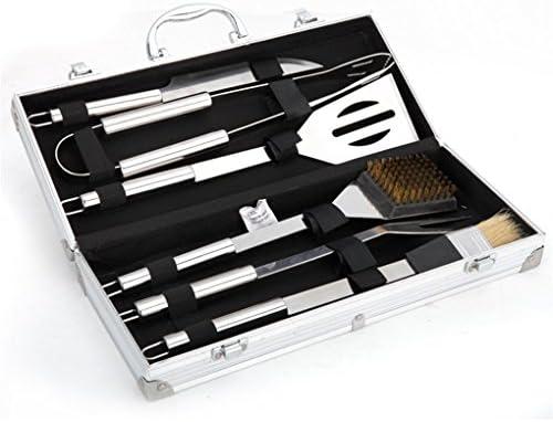 Meao 6 piezas acero inoxidable asador con estuche de aluminio - sistema de herramienta Profesional Barbacoa parrilla