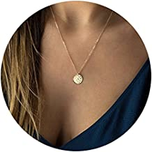 Fettero Necklace for Women Dainty Handmade 14K Gold Fill Carved New Circle Full Round Wafer Waning Waxing Moon Phase Pendant Chain Minimalist Jewelry Mothers Day Jewelry Gift